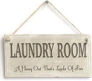 "Meijiafei Laundry Room A Hangout Thats Loads of Fun - Rustic Country Hanging Door Sign Plaque 10""x5"""