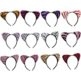Cat Ears Headband - 12 Pack Cotton Fabric Kitty Cosplay Costume Hair Headwear for Theme and Halloween Party in Leopard and Zebra Prints