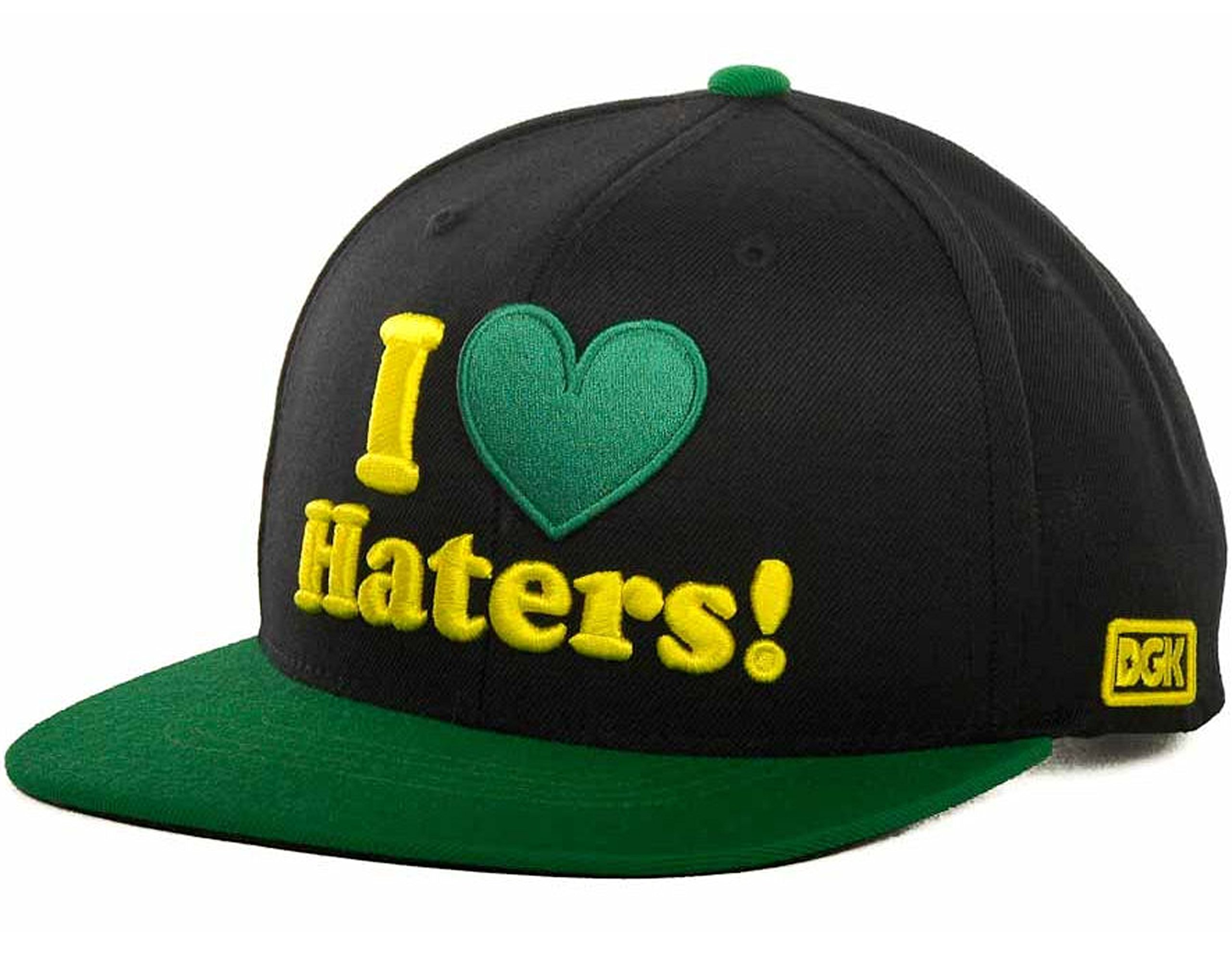 DGK I Heart (Love) Haters Motivation Snapback Cap Hat (One Size, Black/Green/Yellow)