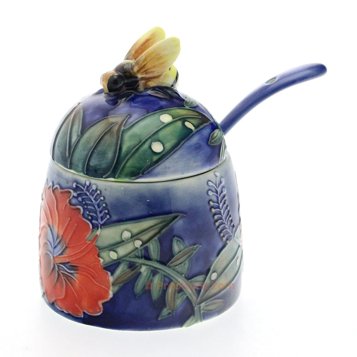 Old Tupton Ware - Hibiscus Design - Honey Pot and Spoon