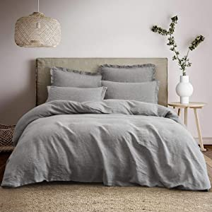 """PHF 100% Washed French Flax Linen Duvet Cover Set - King Size ( 106""""x 92"""") 3PCS, Soft, Breathable, Durable, Basic Style, Solid Color Bedding - Comforter Cover with 4 Corner Ties, Light Grey"""