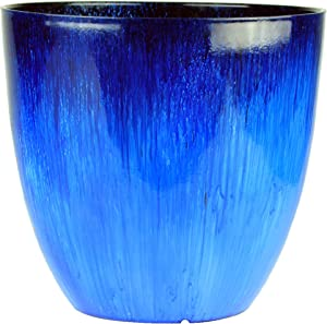 Gardener Select (EPR15-204 Large Egg Shaped Planter - Modern Indoor & Outdoor Decorative Flower Pot/Box (15 Inch, Blue Flower)