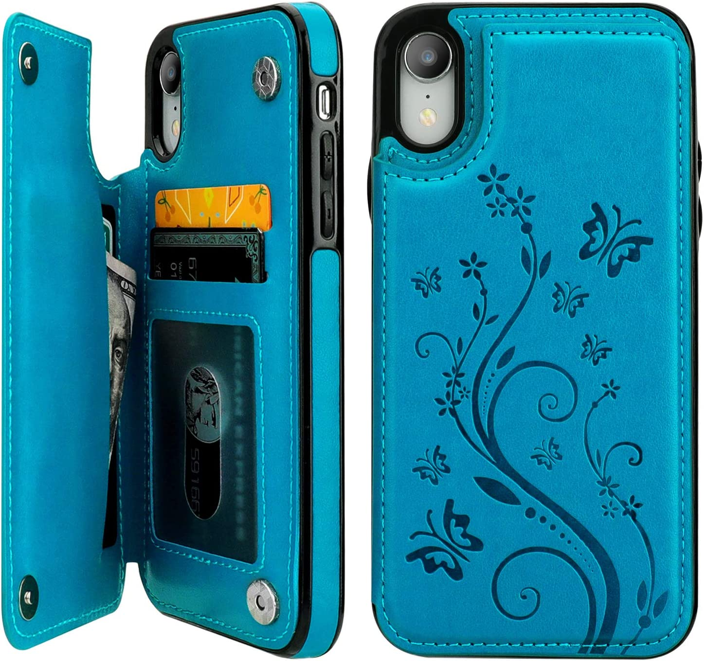 "Vaburs iPhone Xr Case Wallet with Card Holder, Embossed Butterfly Premium PU Leather Double Magnetic Buttons Flip Shockproof Protective Case Cover for iPhone Xr (6.1"", Blue)"