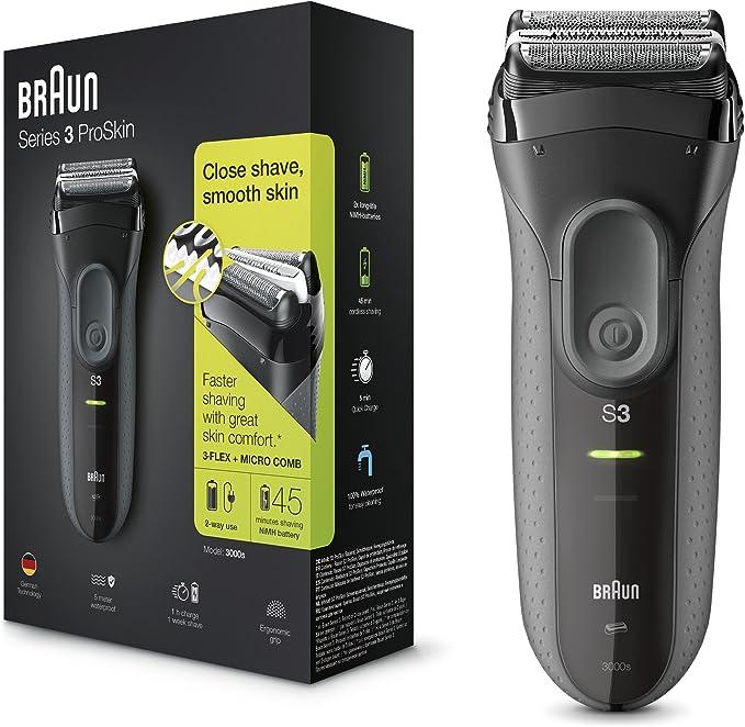 Braun Series 3 ProSkin 3000 s - Afeitadora eléctrica Hombre, para barba, máquina de afeitar inalámbrica y recargable ...