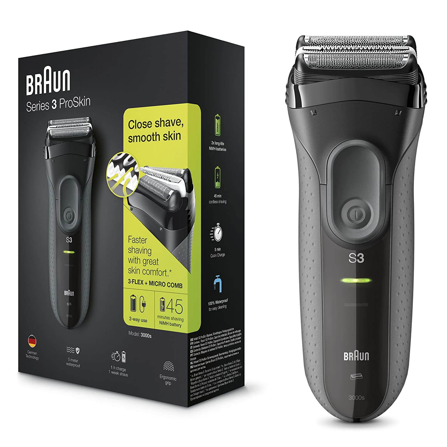 Braun Series 3 ProSkin 3000s Electric Shaver, Electric Razor for Men, Rechargeable and Cordless Shaver, Black Procter & Gamble TRTAZ11A