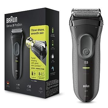 Braun Series 3 ProSkin 3000 s - Afeitadora eléctrica Hombre, para barba, máquina de afeitar inalámbrica y recargable, color negro