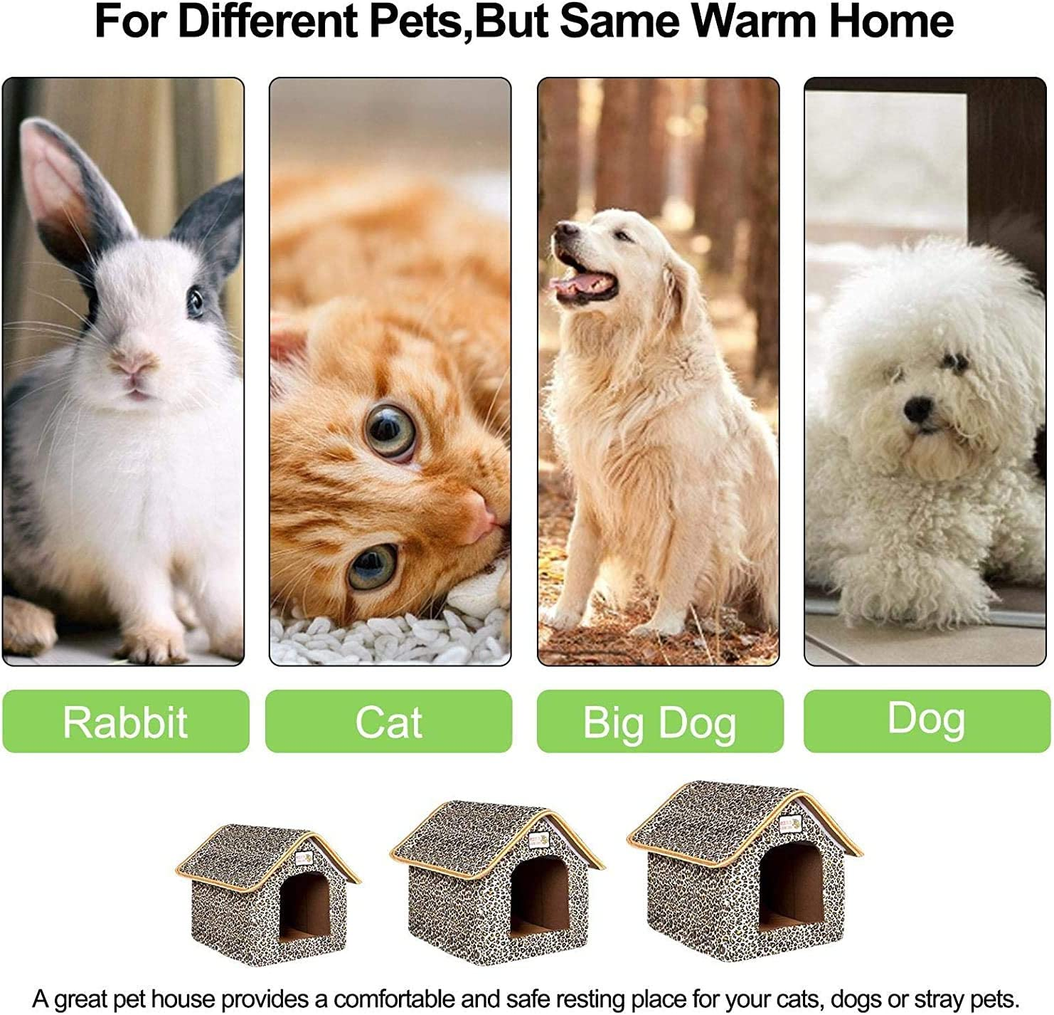 L Outdoor Pet House,cat Cave Bed Cat Shelter Leopard Print Pet Kennel Waterproof and Weatherproof Cottage for Cats Foldable Pet Shelter Thickened Warmth in Winter Washable Stray Cat House