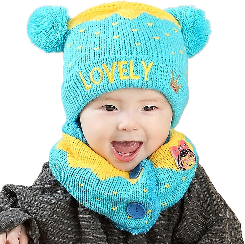 FEOYA 2pcs Beanie Scarf Baby Winter Girl Boy Beanie Hat Knitted Warm for Baby 6-36 Months Baby