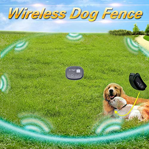 dr.tiger Portable Wireless Dog Fence, NO Wires to BURY-800FT Containment System,DT-WL