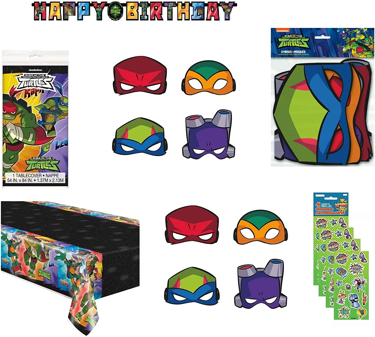 Teenage Mutant Ninja Turtles TMNT Birthday Party Supplies Decoration Bundle includes Banner, Table Cover, Masks, Stickers