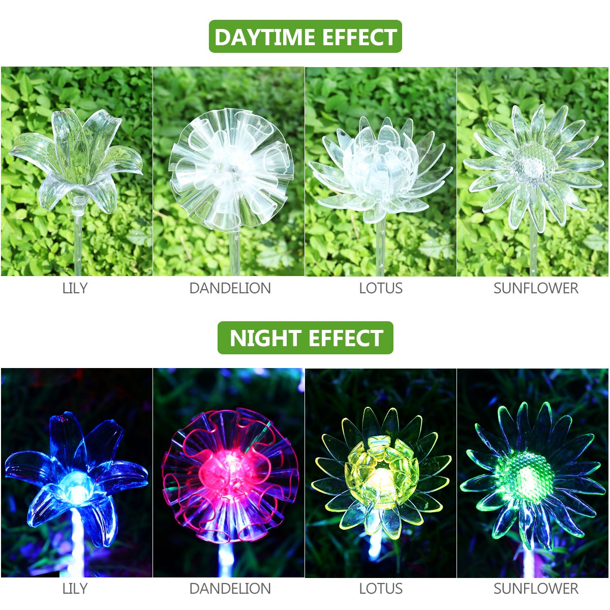 YUNLIGHTS 4pcs Solar Garden Lights Outdoor Garden Stake Lights Multi-Color Changing LED Solar Lights with Purple LED Light Stake for Garden Patio Backyard Decoration (Lotus,Dandelion,Lily,Sunflower) by YUNLIGHTS (Image #4)