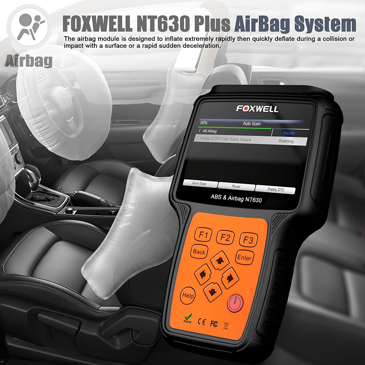 Amazon.com: FOXWELL NT630 Plus SRS Automotive OBD2 Scan OBD II ABS Bleeding  Diagnostic Scanners Air Bag Engine Light Reset Tool: Automotive