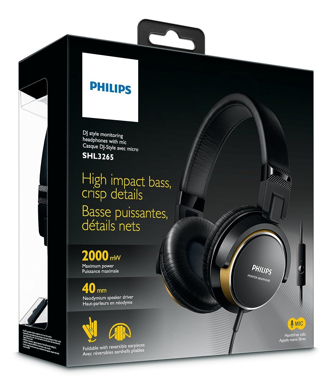 Philips SHL3265RD/00 - Auriculares de diadema cerrados tipo DJ (2000 mW, micrófono, plegables), negro y rojo: Amazon.es: Electrónica