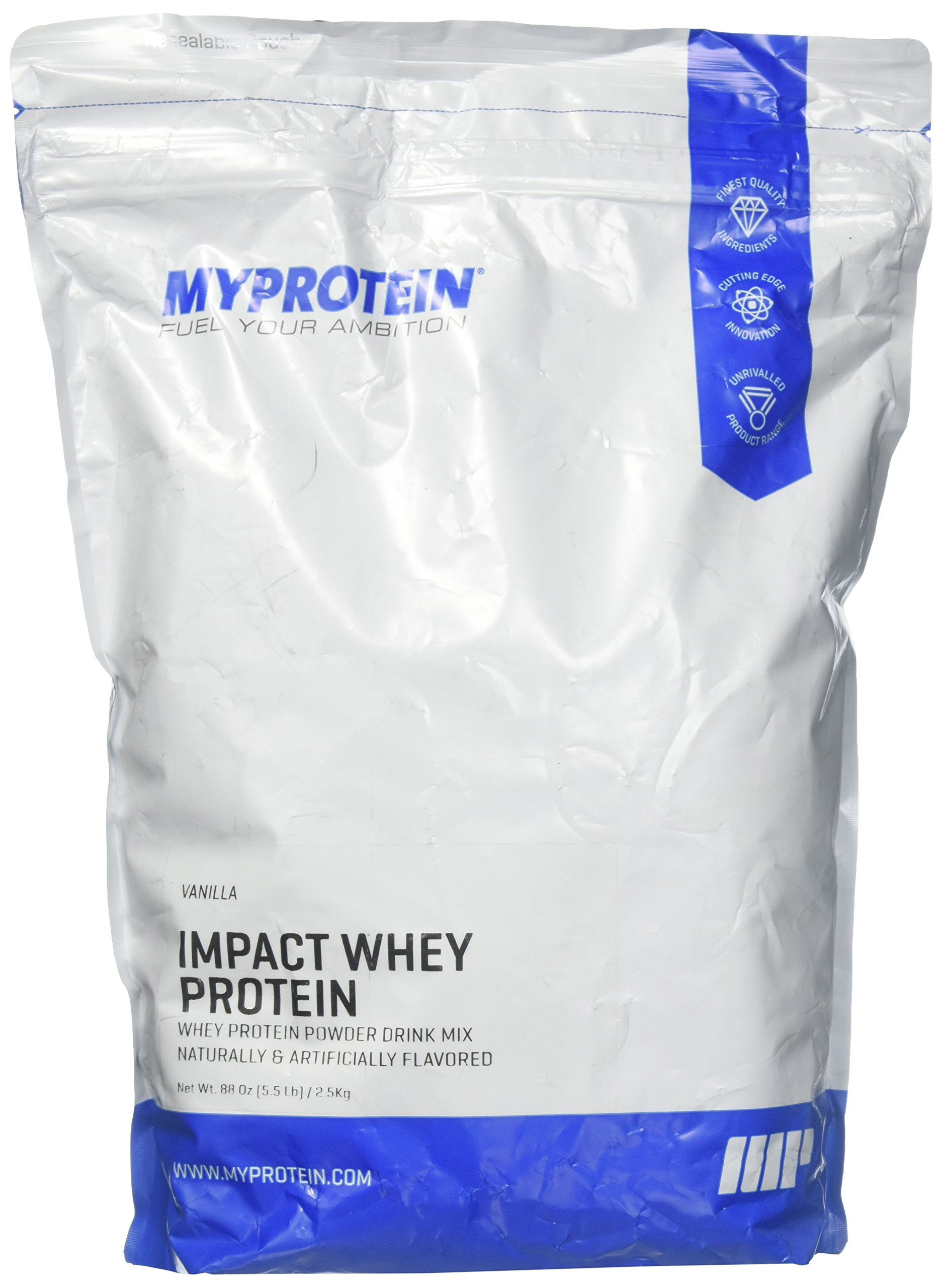 Myprotein Impact Whey Protein Blend, Vanilla, 5.5 lbs (100 Servings)