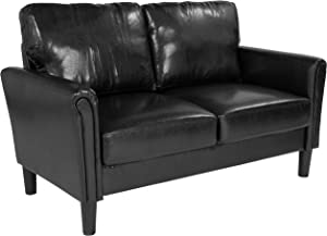 Flash Furniture Bari Upholstered Loveseat in Black LeatherSoft