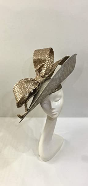 9e5aa2e4 Eleda Hats Large Picture Hat with Sequin Picture Bow Wedding Headwear  Ladies Day Races Royal Ascot: Amazon.co.uk: Clothing