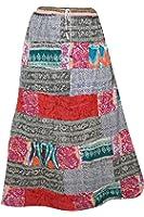 Mogul Interior Womens Maxi Skirt Patchwork Stylish Printed Rayon Boho Gypsy Colorful Large