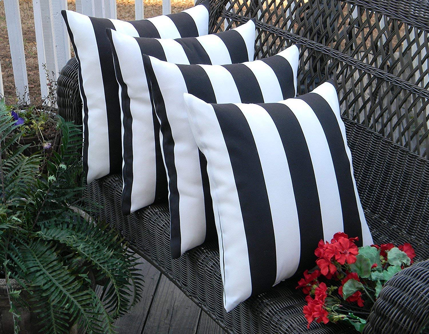 Resort Spa Home Decor Set of 4 Indoor Outdoor Square Decorative Throw Toss Pillows Black and White Stripe Fabric Choose Size 17 x 17