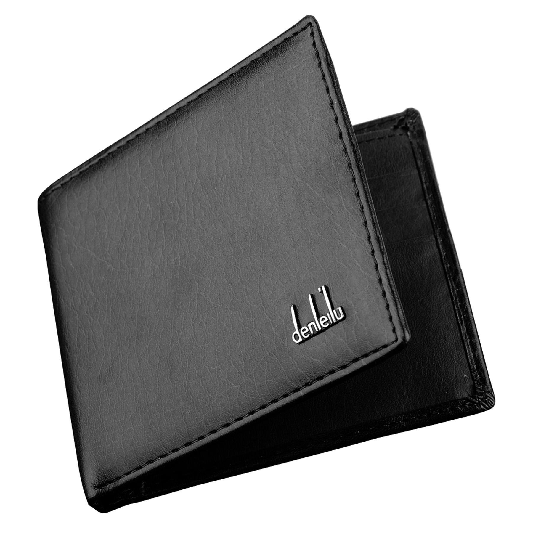 Mekolen Mens Synthetic Leather Wallet Money Pockets Credit/ID Cards Holder Portable Wallet Classic Purse 2 Colors Wallets,Black