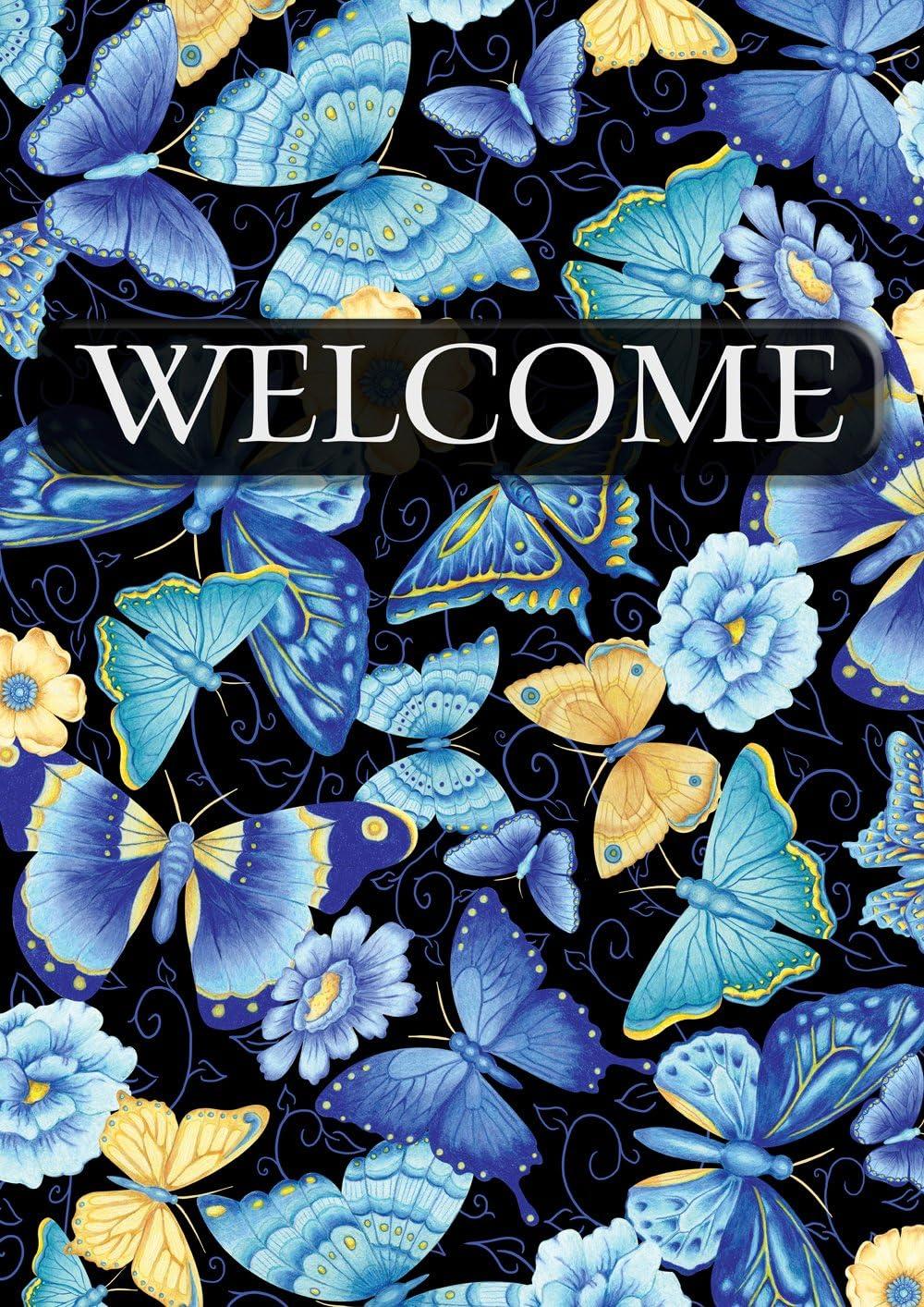 Toland Home Garden 1112002 Blue Butterfly Welcome 12.5 x 18 Inch Decorative, Garden Flag (12.5