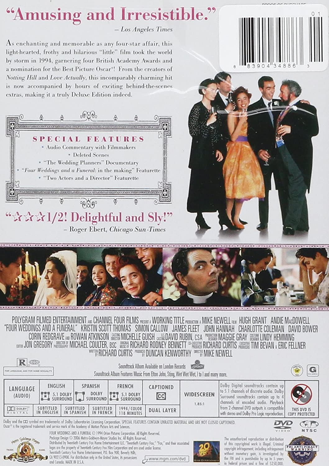 Amazon Four Weddings And A Funeral Deluxe Edition Hugh Grant Andie MacDowell James Fleet Simon Callow John Hannah Kristin Scott Thomas