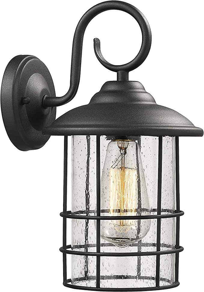 Emliviar 1 Light Outdoor Wall Sconce Outside Porch Light In Black Finish With Clear Seeded Glass 1803cw2 Home Improvement Amazon Com