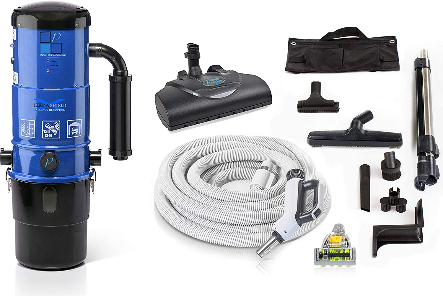 Prolux CV12000 Central Vacuum Unit System with Prolux Power Nozzle Kit and 25 Year Warranty