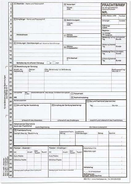 100 X Frachtbrief Einzelsatz 250731 National Lkw Kvo Frachtbriefe Selbstdurchschreibend Amazon De Burobedarf Schreibwaren