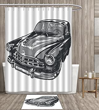 Cars Shower Curtain Polyester Fabric Art Hand Drawn Vintage Vehicle With Detailed Front Part Hood Lamps