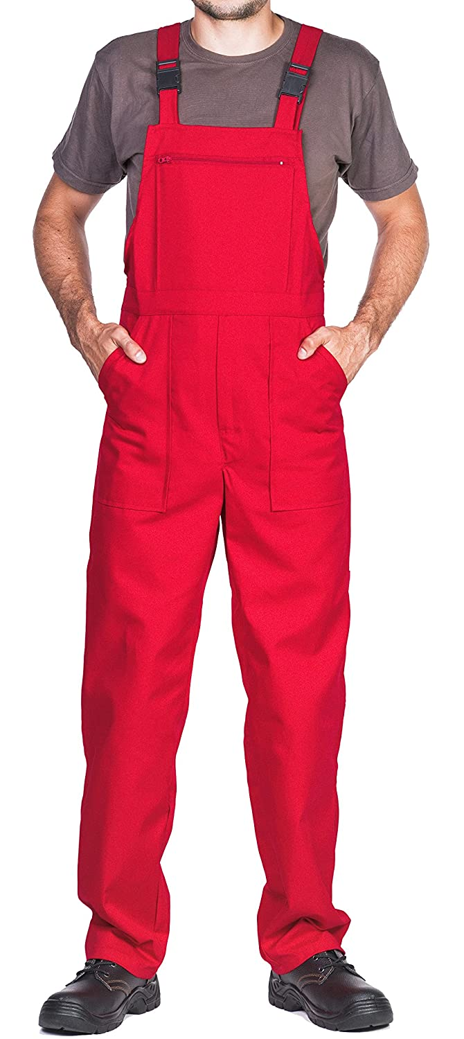 Bib and Brace Dungaree Overalls for man, Prowear Workwear, S-3XL size - made in EU - work trousers, Blue, Red, White, Green