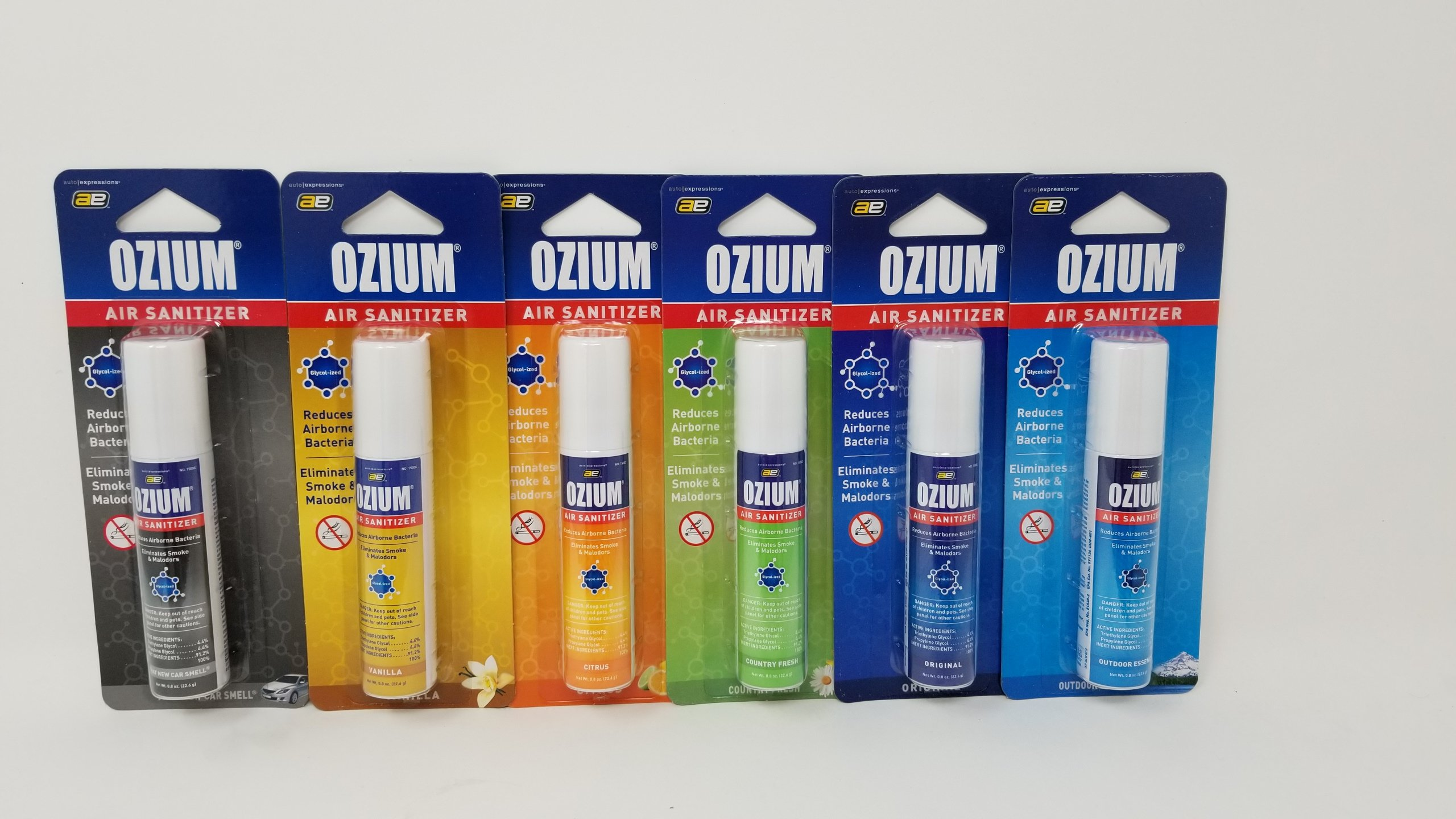Ozium 500 .8 Ounce 6 pack 6 Scent Variety One of Each kind (6 pack, Variety) by Ozium