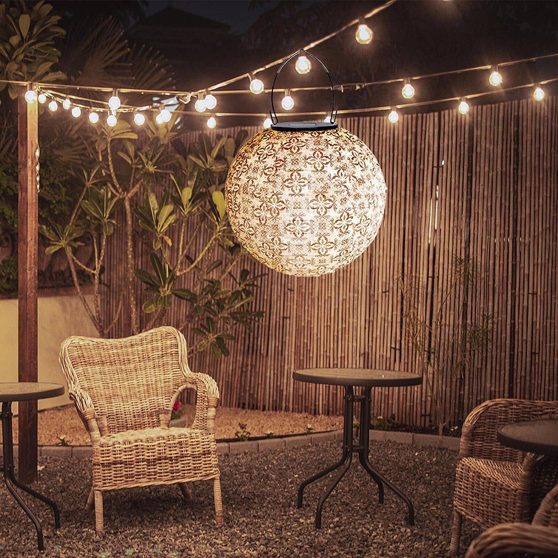 Soji Solar Lanterns, Round LED Outdoor Solar Lantern, Handmade Solar Powered Nylon Hanging Garden Lights Outdoor Decoration for Yard, Lawn, Patio (A-10
