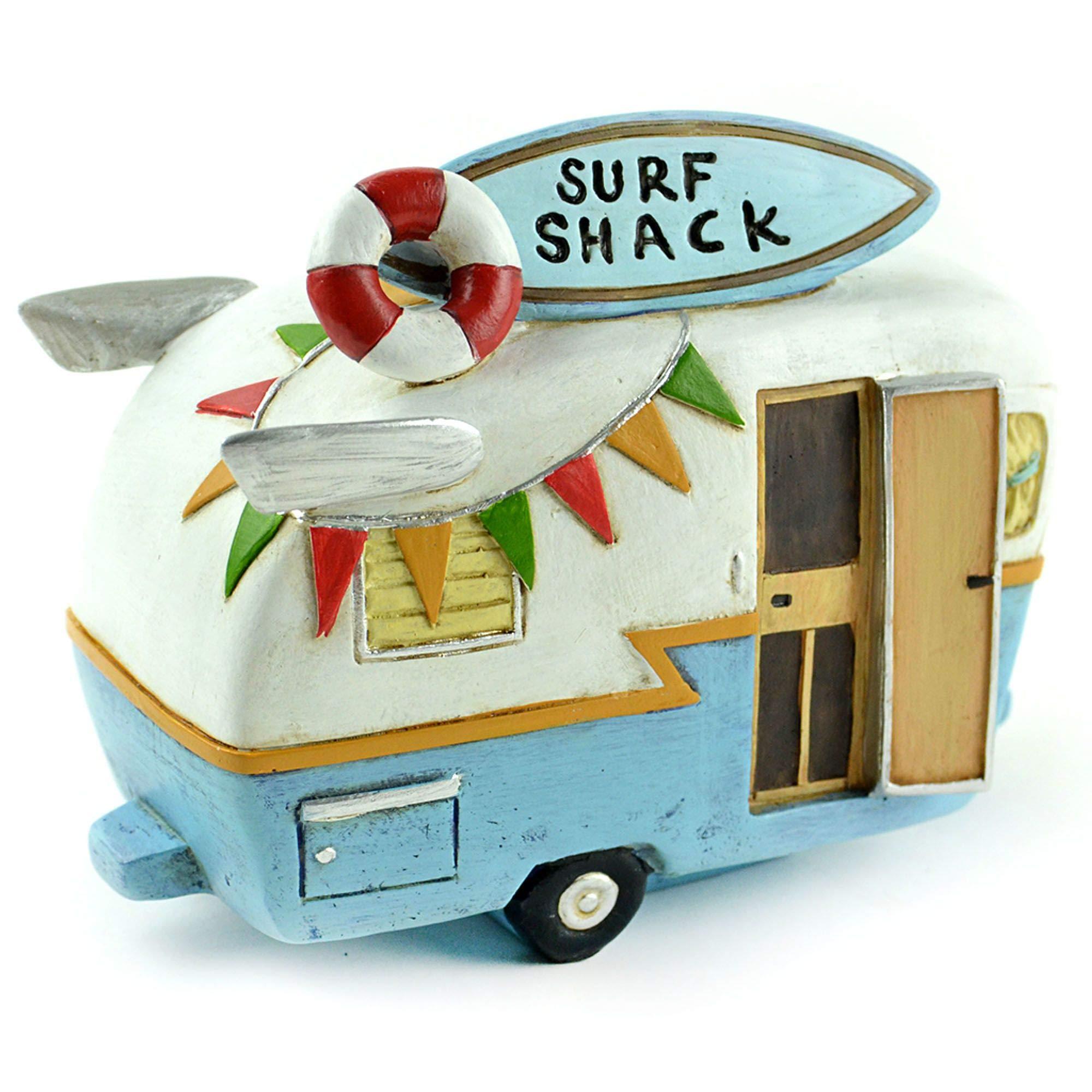 MWD Miniature Fairy Garden Retro Airstream RV Beach Camper Trailer Surf Shack Decor, Mini and Dollhouse Accessories, Surfer Camping Lover Coastal Beach Themed Home Decorations, Resin, 6''