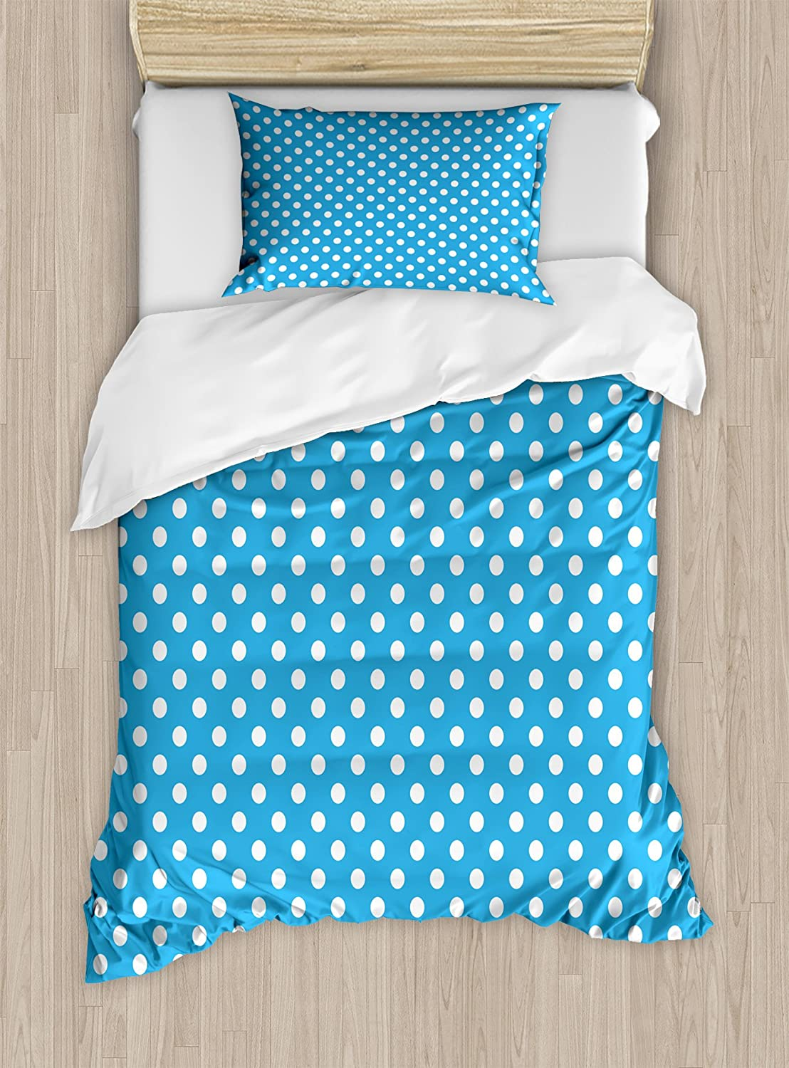 Decorative 3 Piece Bedding Set with 2 Pillow Shams Blue White Ambesonne Blue Duvet Cover Set Queen Size Retro Style Pattern with Little White Polka Dots Geometrical Vintage Inspirations