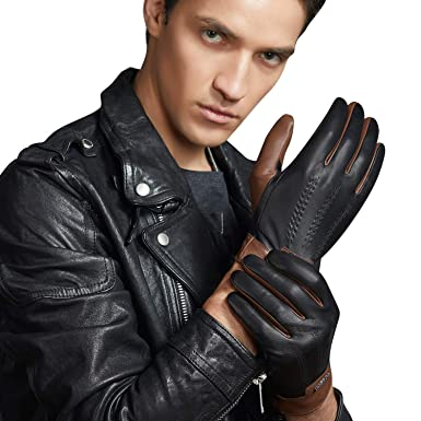 89f39c0f48858 FIORETTO Winter Mens Italian Leather Driving Gloves Touchscreen Cashmere  Wool Lined Brown 9