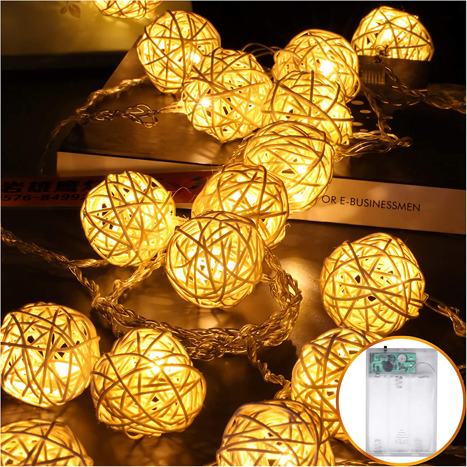 HYAL LUZ Battery Operated 20 LED String Lights, 16.4ft 20 Globe Rattan Balls Christmas Light, Indoor Fairy String Lights Decorative for Bedroom Party (Warm White)