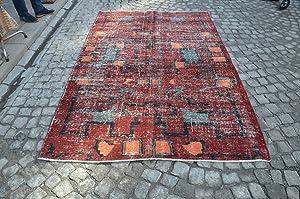 Multicolor Handmade Overdyed Rug, Turkish Oushak Carpet, Vintage GEOMETRIC Rug