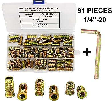 Furniture Insert nut Thread Carbon Steel M10 Internal Thread 25 mm Length 10 Pieces