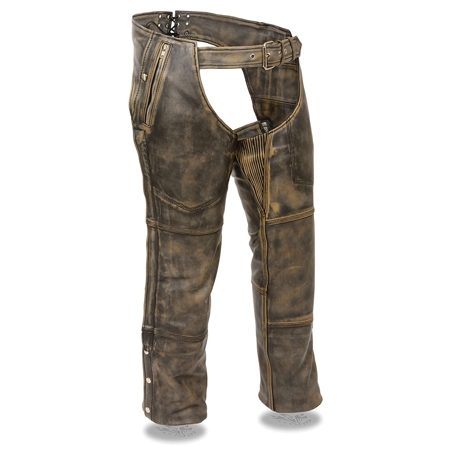 ZOOM LEATHER-Mens Distressed brown Four Pocket Thermal Lined Chap-BLK//BEIGE-XS Shaf International Inc ZLM11000-BLK//BEIGE-XS