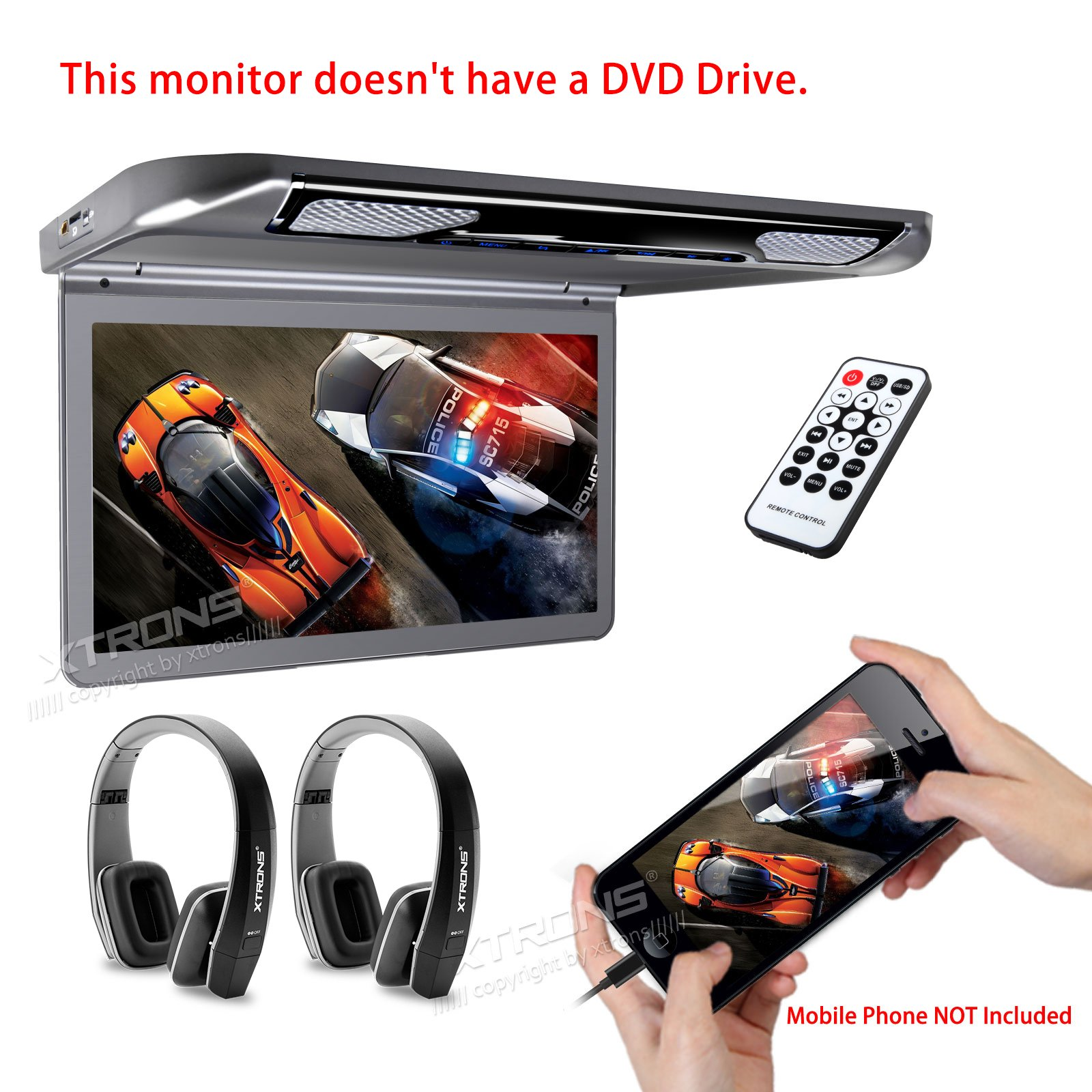 XTRONS 13.3'' HD 1080P Video Car MPV Roof Flip Down Slim Monitor Overhead Player Wide Screen Ultra-thin with HDMI Input New Version Black IR Headphones Included No DVD