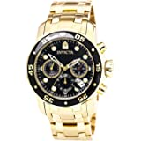 Invicta Men's Pro Diver Quartz Watch with Black Dial Chronograph Display and Gold Plated Bracelet 0072