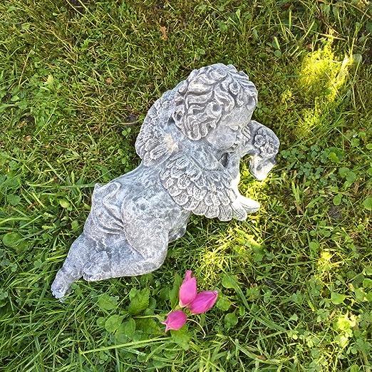 Antikas - ángel de Piedra como decoración jardín - Escultura ángel Tumba decoración - ángel Cementerio: Amazon.es: Jardín