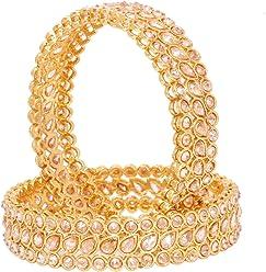 Indian Traditional Antique Gold Tone Reverse Stone Bollywood Bangle Bracelet Set