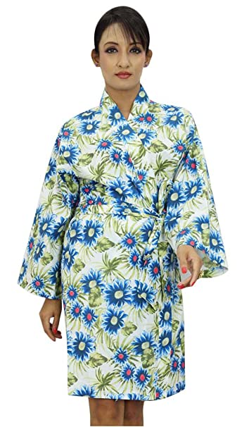 Algodón estampado del traje de dama Wrap Crossover Batas abrigo del balneario: Amazon.es: Ropa y accesorios