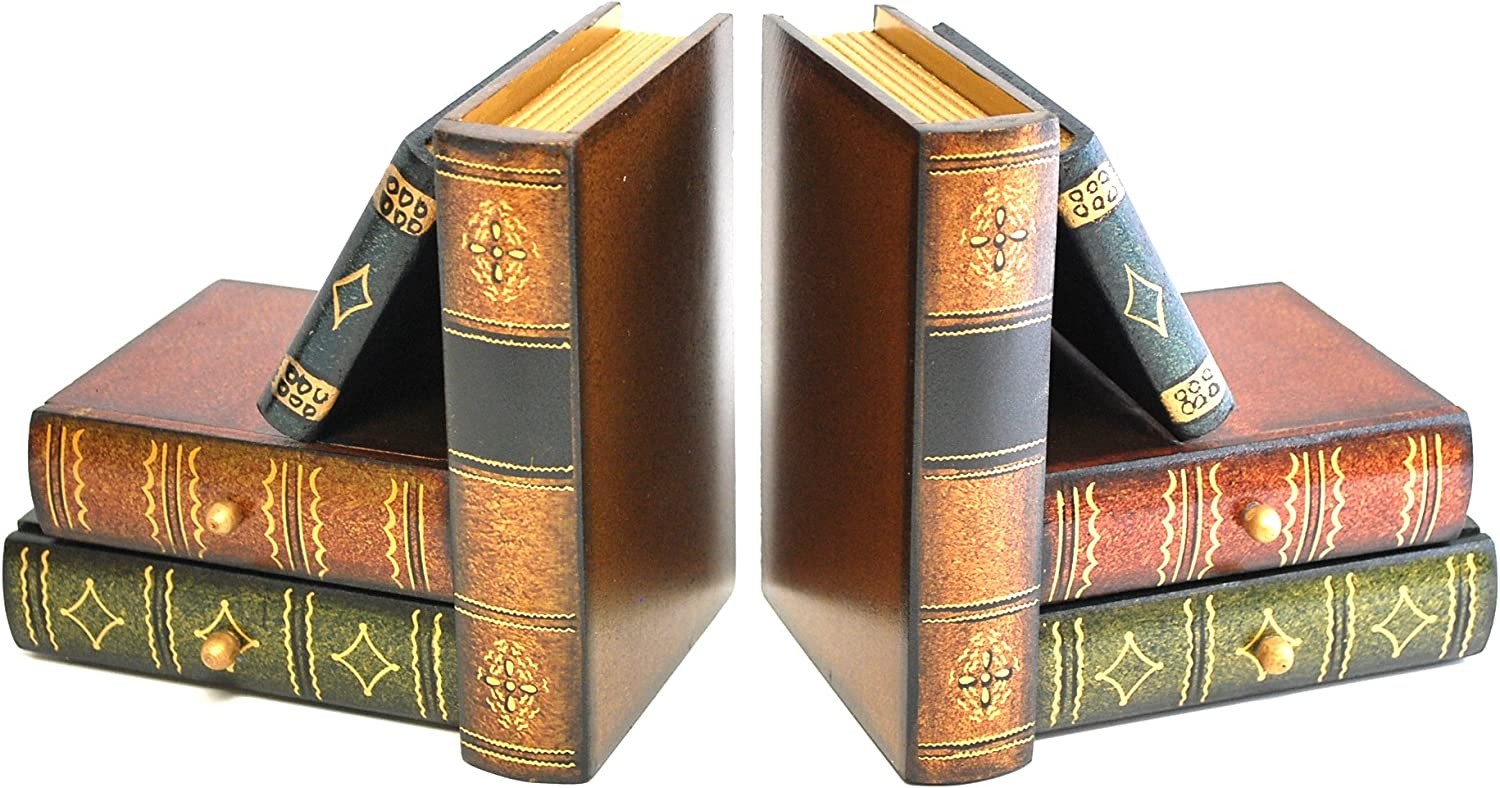 "Royal Brands Classic Wooden Book Bookends with Hidden Drawers - Book Stand - Set of 2 - Bookshelf Bookends - (6"" x 4"" x 6"")"