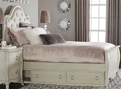Amazoncom Angela Full Size Button Tufted Bed Storage Drawers In