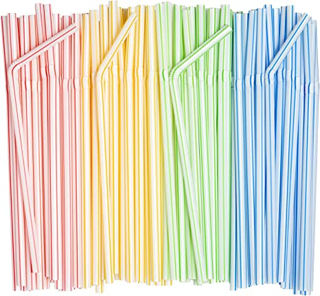 100 x Stripes Plastic Straws Biodegradable Drinking Flexible Bendy Party Summer