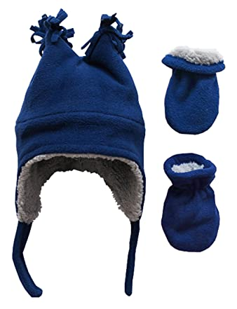 N Ice Caps Little Boys and Baby Sherpa Lined Fleece Winter Hat and Mitten  Set f947569863a