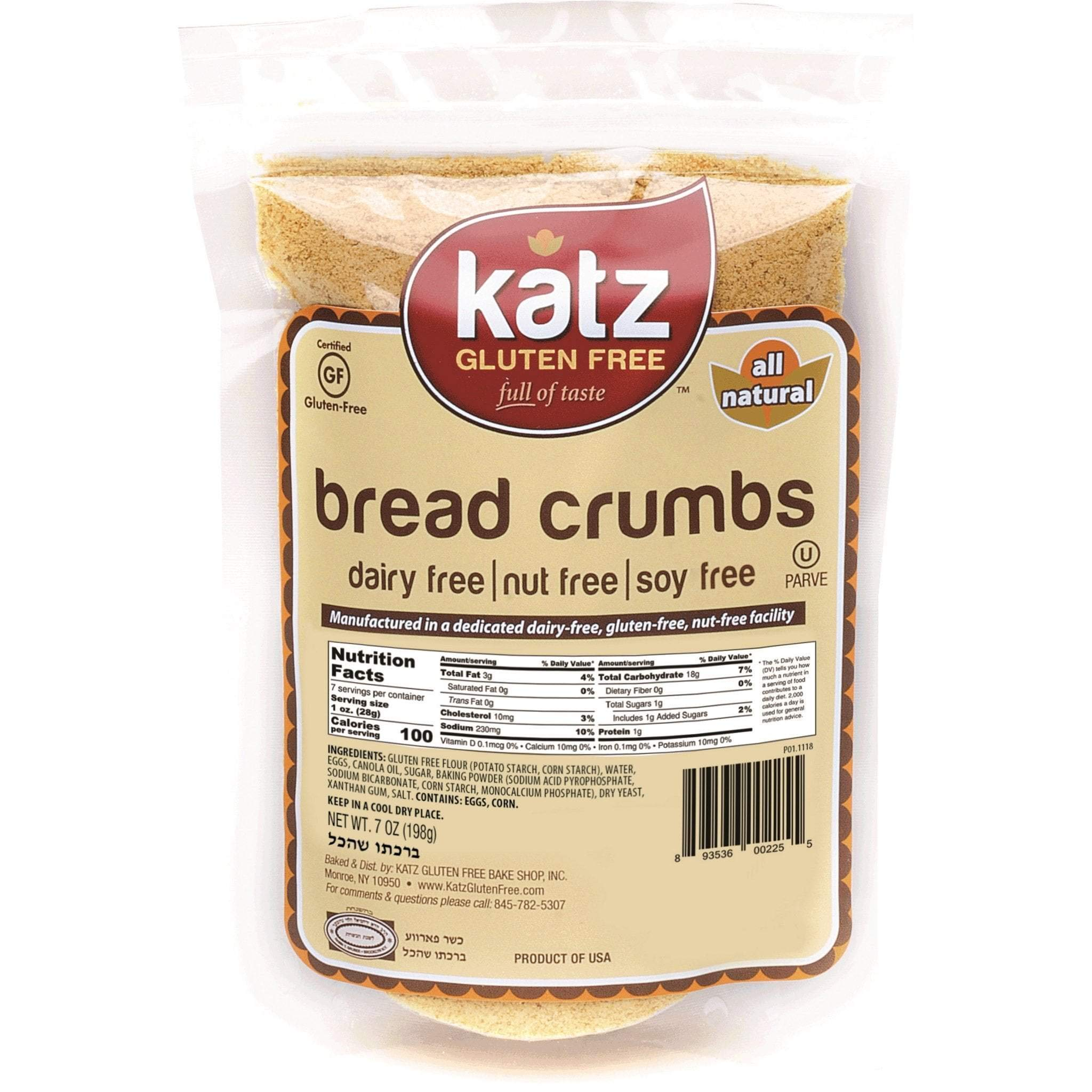 Katz Gluten Free Bread Crumbs | Dairy, Nut, Soy and Gluten Free | Kosher (6 Packs, 7 Ounce Each) by Katz Gluten Free