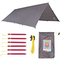 Sanctuary SilTarp - Ultralight and Waterproof Ripstop Silnylon Rain Shelter Tarp, Guy Line and Stake Kit - Perfect for Hammocks, Camping and Backpacking